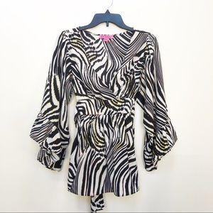 Betsey Johnson Kimono Zebra Sleeve Wrap Blouse S